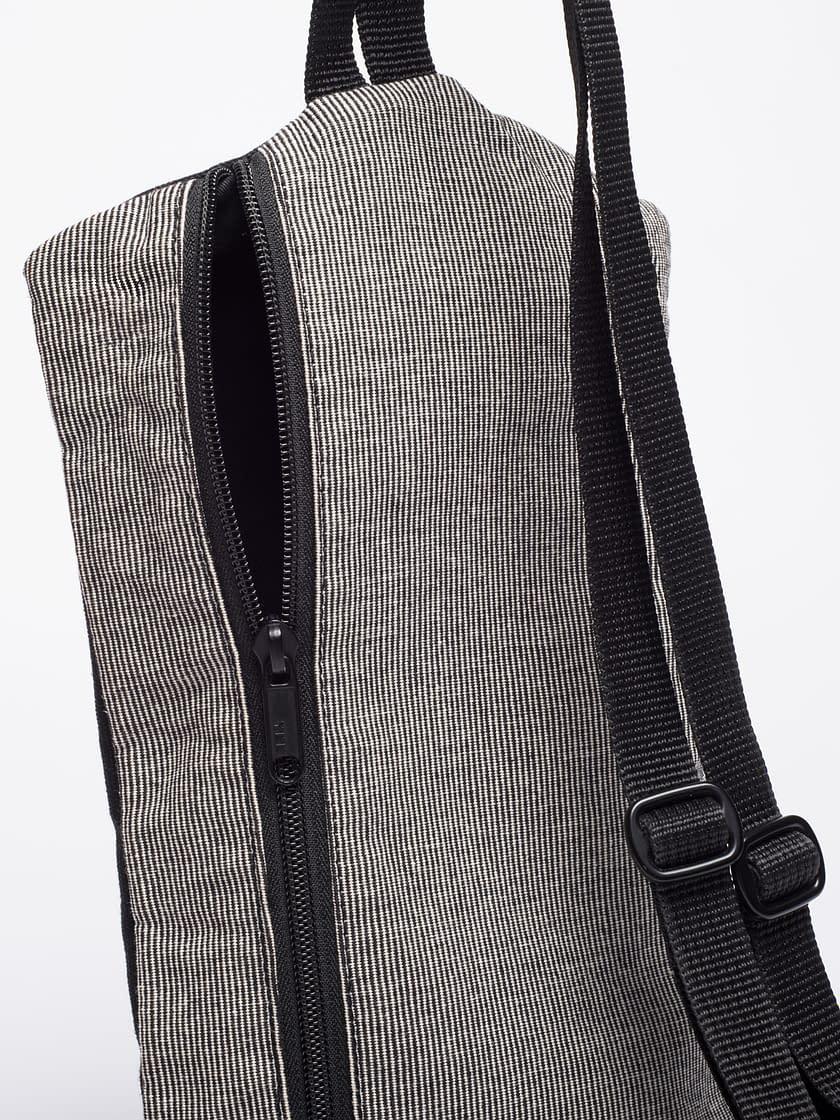 birdwalk backpack handbag black stripes cotton Back Detail