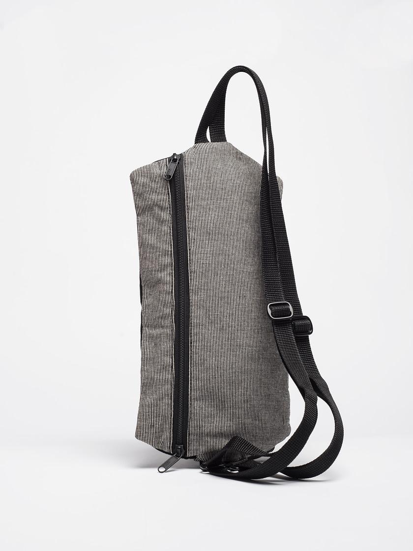 birdwalk backpack handbag black stripes cotton Back